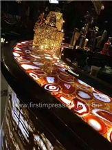 Red Semi Precious Stone /Red Agate Bar Top Backlit /Red Agate Bar Countertop