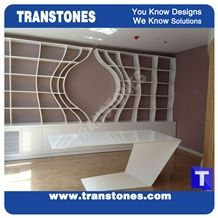 Discount Price 7 Shaped Solid Surface Artificial White Marble Arcylic President Work Top,Office Table,Interior Furniture