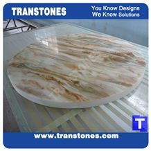 Discount Price Golden Spray Solid Surface Marble Round Table Tops,Cafe Desk Interior Furniture Manufacturer,Artificial Marble Customzied Color