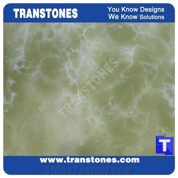 Engineered Light Green Artificial Onyx Solid Surface Alabaster Slabs ...