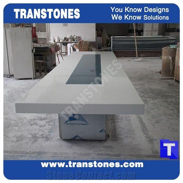 Modern Design Artificial Marble White Acrylic Conference Table - White marble conference table