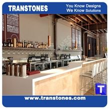 Pure White Quartz Stone Club Bar Top, Commercial Countertops Solid Surface Material for Custom