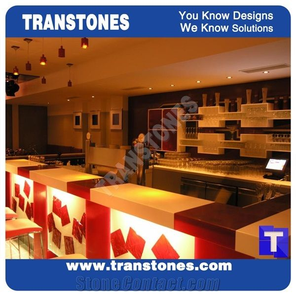 Red Acrylic Panel For White Quartz Stone Bar Top,Commercial Countertops  Hotel Solid Surface Manmade Stone Material