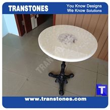 Seashell White Semiprecious Artificial Marble Stone Living Room Round Table Tops,Engineered Stone Solid Surface Table Sets, Home Furniture