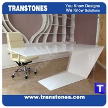 Solid Surface Artificial White Marble Arcylic Work Top,Office Counter,Interior Engineered Stone Furniture for President