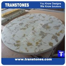 Solid Surface Gold Maple Leaves Marble Table Tops,Cafe Desk Interior Furniture Manufacturer,Artificial Marble Customzied Color