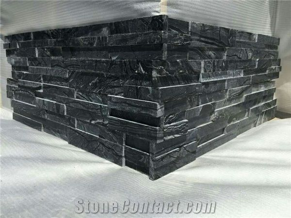 Glacial Black Ledger Stone Panel, Ancient Wood Marble Stacked Stone Veneer,  Black Serpentine Wall Cladding, Wooden Split Face Culture Stone