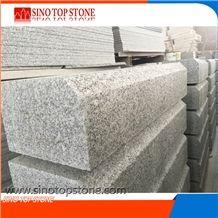 Hot Sale Beveled Edge Granite Curb, Cheap Light Grey Granite Kerb Curb Stone Flamed