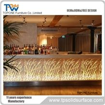 2017 China Factory Oem Artificial Marble Stone Led Lighted Illuminated Bar Counter Tops, Interior Stone Acrylic Solid Surface Led Bar Counter Tops