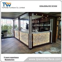 2017 New Design Oem Factory Price Artificial Marble Stone Glowing Bar Counter Tops, Interior Stone Acrylic Solid Surface Glowing Bar Countertop Design