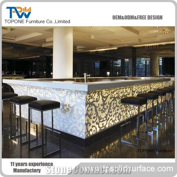 Great China Factory Price Artificial Marble Stone Glowing Bar Counter Table Tops  Designs, Interior Stone Acrylic Solid Surface Led Lighted Bar Counter Tops