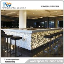 China Factory Price Artificial Marble Stone Glowing Bar Counter Table Tops Designs, Interior Stone Acrylic Solid Surface Led Lighted Bar Counter Tops