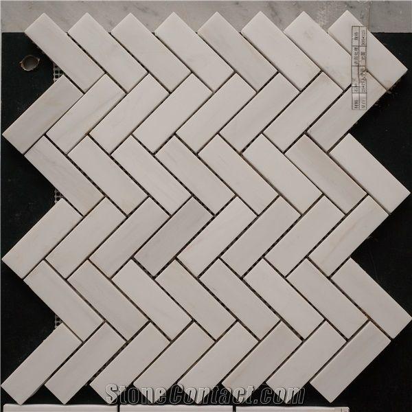 Carrara Bianco 1x3 Herringbone Marble