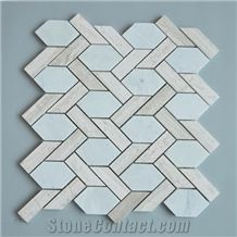 Italy Carrara White and China Wooden Gray Marble Basketwave Kitchen Mosaic Floor Tile, Italian White, Carrara White,Wood Grain Marble Mosaic