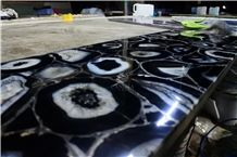 Black Agate Polished Slab for Wall Decoration