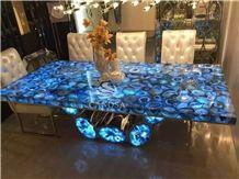 Semi-Precious Stone Of Blue Agate Polished Tables Slabs & Tiles, Brazil Blue Semiprecious Stone
