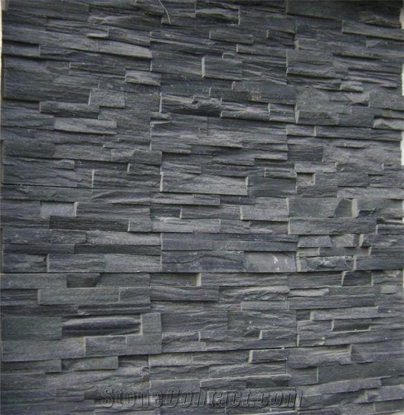 Antique Style Black Slate Nero Culture Stone Wall Cladding