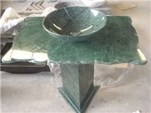 Baroda Green Marble Bathroom Counters,Vanity Top,India Green Verde Marble Pedestal Bath Top with Sink,Bowls-Gofar