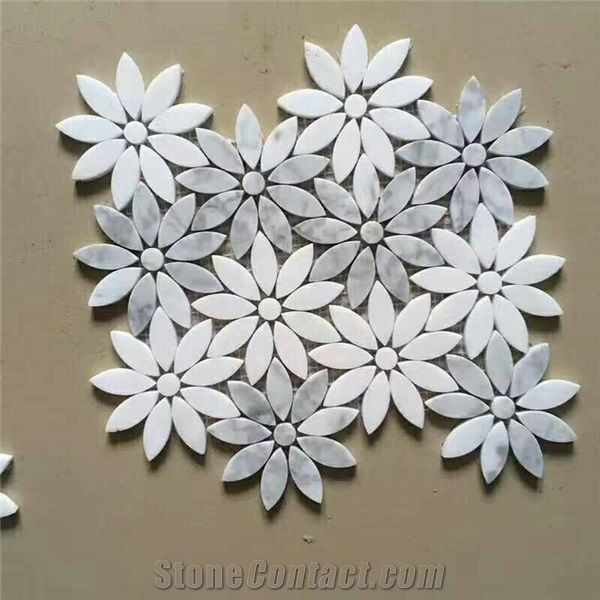Bianco Dolomite White Marble Mosaic Flower Pattern Tiles For Bathroom Wall Floor Interior Design Material Stone Gofar From China Stonecontact Com