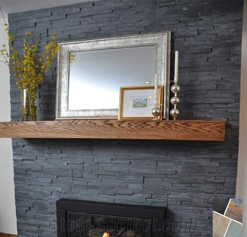 Black Slate Nero Culture Stone Wall Cladding Panel Fireplace Surround Covering Antique Style Interior Stacked Veneer Walling Gofar