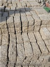 Block Stock Cobble G682 Brick Road Pavers on Mesh,Padang Giallo Rust Granite Cube Stone & Brick Pavers Golden Garnet,Driveway Paving Sets,Landscaping Stone-Gofar
