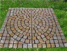 Block Stock Cobble G682 Brick Road Pavers on Mesh,Padang Giallo Rust Granite Cube Stone & Brick Pavers Golden Garnet,Driveway Paving Sets,Landscaping Stone-Gofar