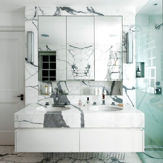 Calacatta Carrara Marble Cut To Size Bathroom Counters Design Modern Style Vanity Top Bath Top From China Stonecontact Com