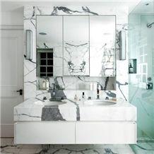 Calacatta Carrara Marble Cut to Size Bathroom Counters Design Modern Style Vanity Top,Bath Top