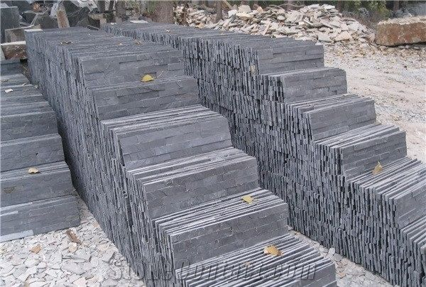 China Black Slate Nero Culture Stone Wall Cladding Panel