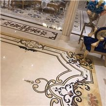 Dino Beige Cream Marble Mixed Light Emperador Marble Flower Carving Waterjet Medallions / Floor Carpet Medallions