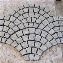 Factory Price Fan Shaped G603 Sesame Grey Granite Cube Stone Pavers Set on Mesh,Exterior Landscaping Stones Walkway Stepping Cobble Gofar
