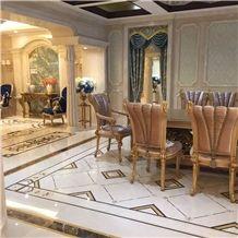 Marfil Cream Marble Mixed Light Emperador Marble Waterjet Medallions / Floor Carpet Medallions