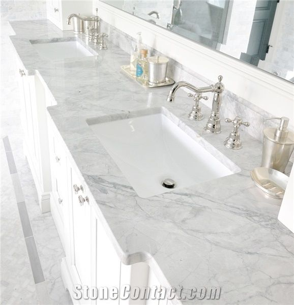 Statuario Venato White Marble Bath Top Bathroom Counter Vanity Hotel Modern Design Interior Stone Decor Gofar
