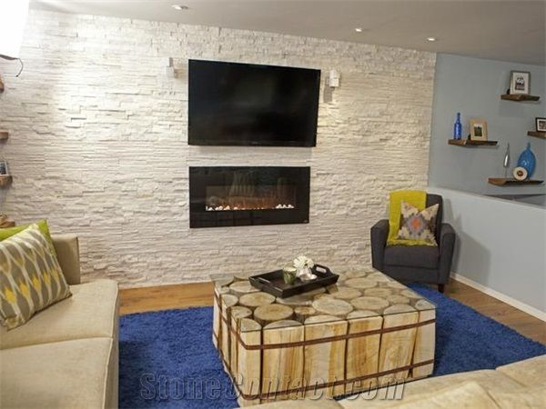 White Quartzite Culture Stone Wall Panel Cladding Stacked Stone Ledge Stone Interior Feature Wall Stone Material Gofar From China Stonecontact Com