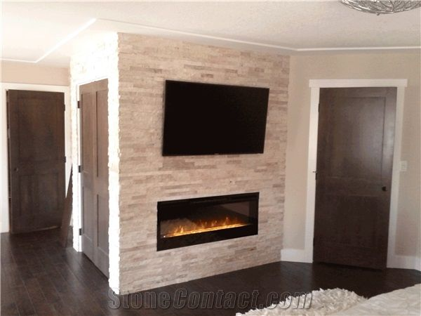 White Quartzite Nero Culture Stone Wall Cladding Panel Fireplace Surround Covering Traditional Style Interior Stacked Veneer Walling Gofar