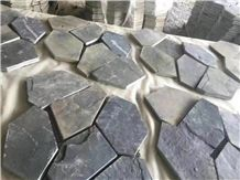 China Black Slate Mess Size Paving,Riven Split Natural Stone Paver,Floor Tile for Walkway,Cultured Stone Cheap Price with Ce and Own Quarry
