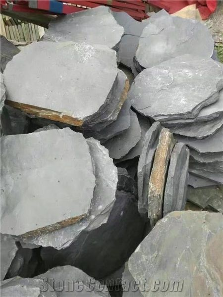 China Black Slate Stepping Stone Riven Split Natural Stone