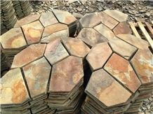 China Yellow Slate Classic Red Wall Tile,Riven Split Natural Stone Paver,Floor Tile for Walkway,Flagstone Cheap Price with Ce and Own Quarry