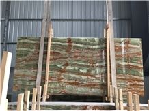 Bamboo Green Onyx Stone Slabs for Floor Tiles and Wall Pattern