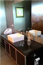 Black Granite Bathroom Countertops/Black Marble Bathroom Custom Vanity Tops/Black Engineered Stone