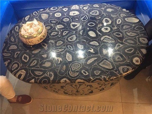 Black Precious Semi Agate Stone Table Top Design/Agate Round Table Tops/Reception  Counter