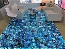 Blue Agate Gemstone Semi Precious Stone Gemstone Slabs Panels Stone Wall Tiles