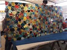 Mixed Color Semi Precious Stone Slabs Wall Panels, Agate Gemstone Tiles