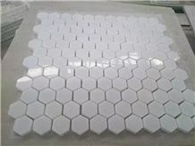 Oriental White/Carrara White Marble Hexagon Mosaic with Polished Surface Mosaic, Wall Mosaic Pattern