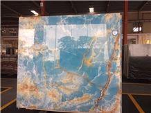 Pakistan Blue Backlit Onyx Slabs Covering Floor Wall Tiles & Blue Onyx Pattern