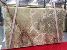 Pakistan Green Onyx Slabs Stone Flooring Wall Tiles & Onyx Pattern