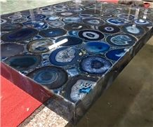 Translucent Blue Agate Countertop, Blue Gemstone Table Top Price, Blue Agate Tiles for Interior Design