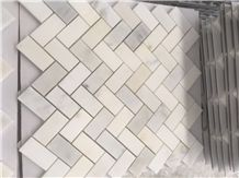 White Marble Polished Surface Mosaic Pattern for Wall Mosaic and Floor Mosaic, Thin Laminated Mosaic