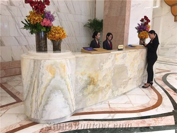 White Onyx Marble Slab Desk Reception Counter Work Table