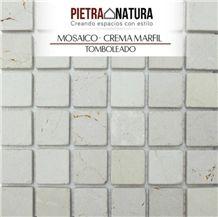 Mosaico Crema Marfil Tumbled, Crema Marfil Classico Beige Marble Mosaic